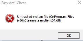 7rv8ao4 - Ошибка Easy Anti Cheat untrusted system file Решение